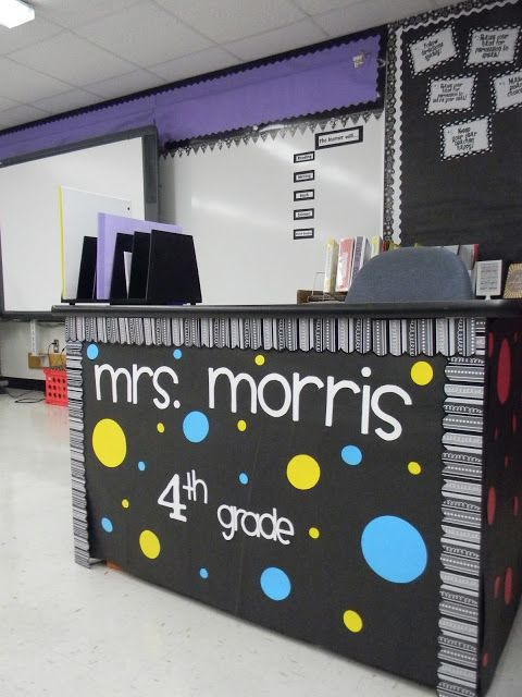 Cute way decorate desk. Cover with construction paper and add trim.