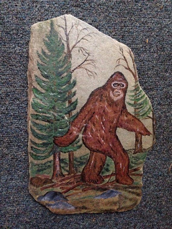 Handpainted BIGFOOT SASQUATCH LARGE ART SLATE. Natural slate rock found at a local Pennsylvania