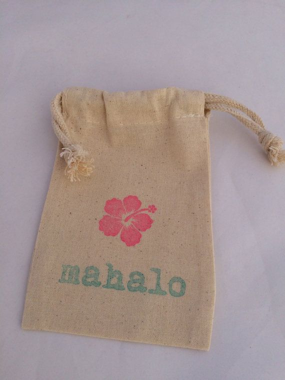 Mahalo/ Thank You Hawaiian Favor Bag Luau by MadHatterPartyBox