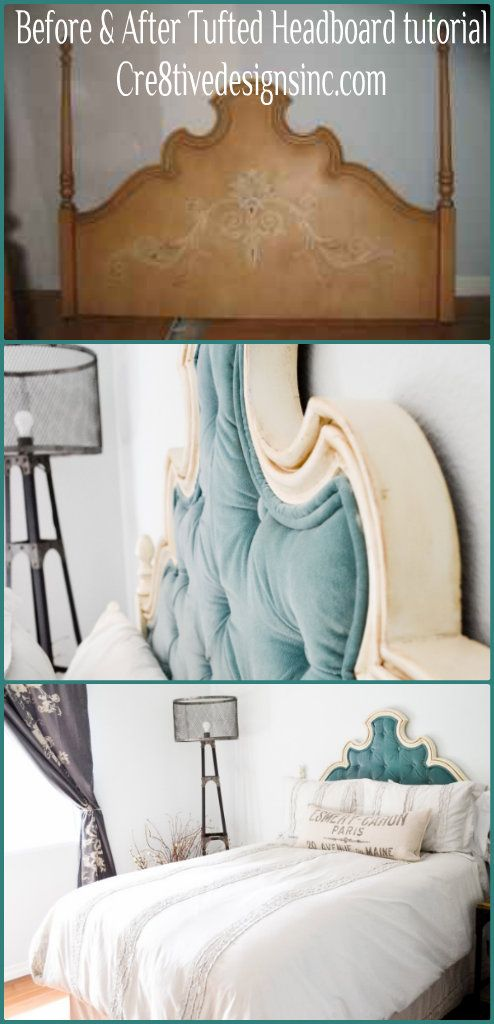 The easy, cheating tufted headboard tutorial... this is such a neat idea, especially for an old headboard!