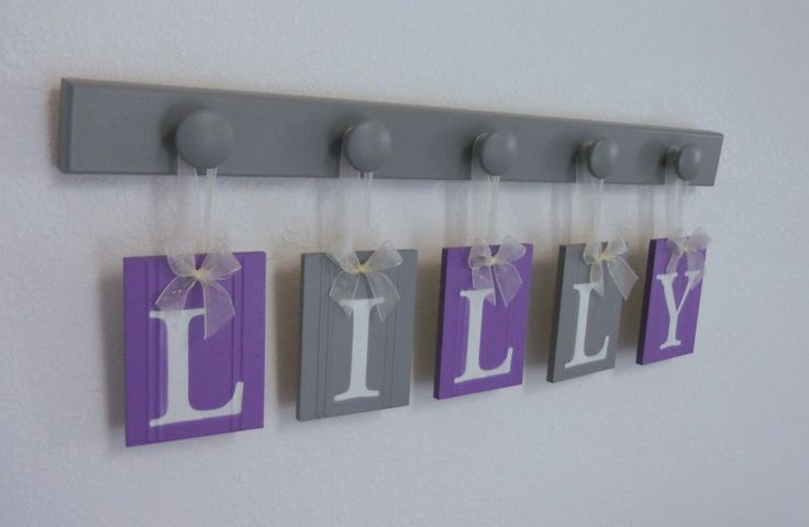 Grey Girl Wall Decor : Purple and gray baby girl nursery decor wall letters