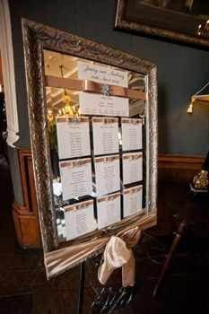 Jen's gorgeous Table Plan - not the awesome use of ribbon:-)
