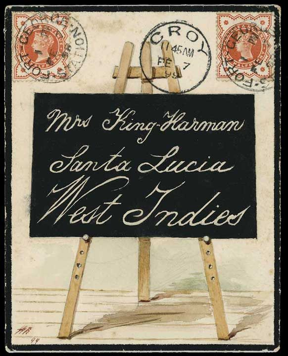 Hand Illustrated envelope from the King-Harman correspondence, sent from Fort George Station to Saint Lucia with 1887–92, the address being in the form of a blackboard on an easel,