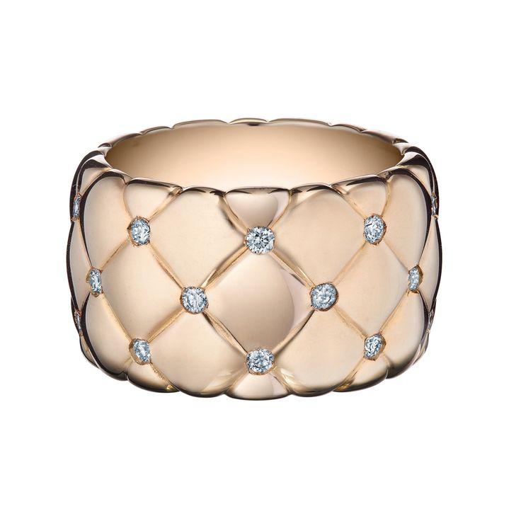 ◽️Fabergé Treillage Rose Gold Wide Diamond Ring