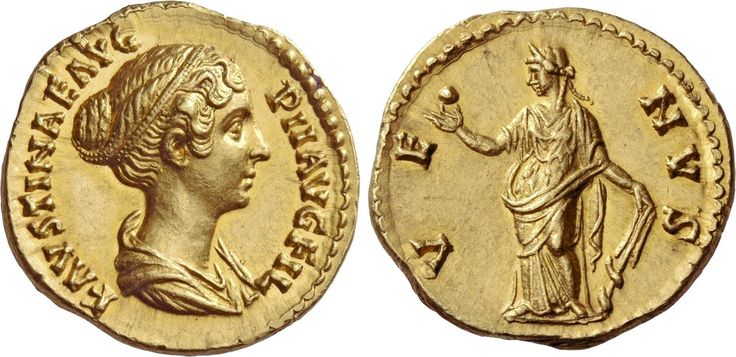 Faustina II (147-176). Aureus, 7.13 g, 147-149. FAVSTINAE AVG – PII AVG FIL. Draped bust r., hair waved and coiled on back of head. / VE – NVS. Venus standing l., holding apple and rudder with dolphin twined around. C –, cf. 266 (denarius). BMC A. Pius 1063. RIC A. Pius 517c. Calicó 2097c (this obv. die). A coin of extraordinary quality and undoubtedly one of the finest aurei of Faustina II in existence. A perfect FDC. Ex Leu sale 86, 2003, 865. From the de Guermantes collection. $37.309.