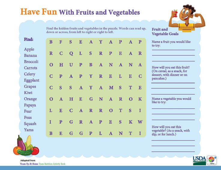 Word Search: Have Fun with Fruits & Vegetables! #Kids #ActivitySheet #MyPlate