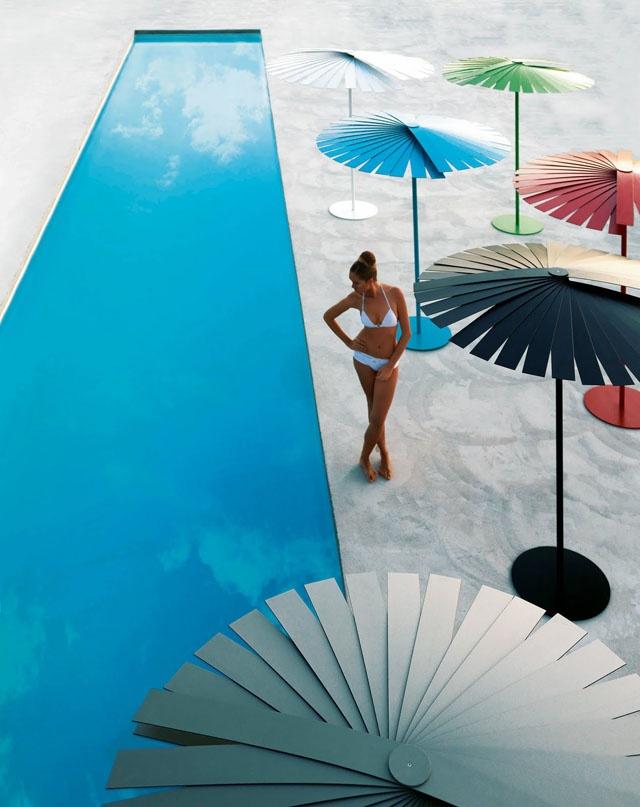 stardust modern design: Patio and Swimming Pool Umbrella Sunshades Gorgeous, luxe multi-tasker.