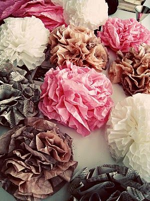 coffee filter, tissue paper, & newspaper flowers