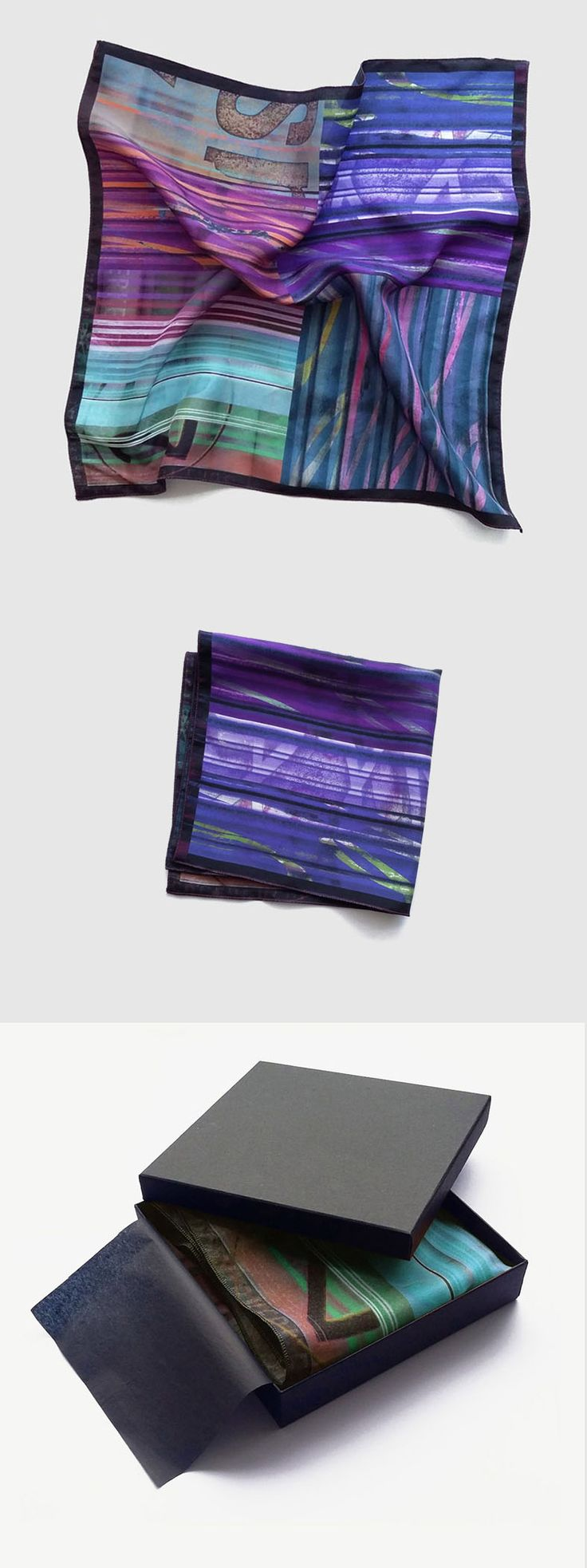 Men's pocket square. Violet and purple printed silk handkerchief, trending wedding alternatives by Ima Pico on Etsy