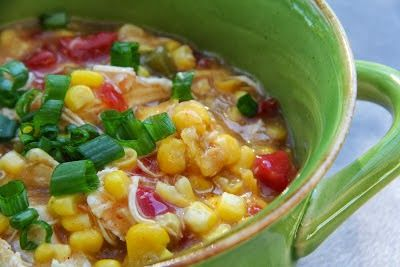 Spicy Chicken Corn Chowder in the slow cooker# slow cooker healthy recipes