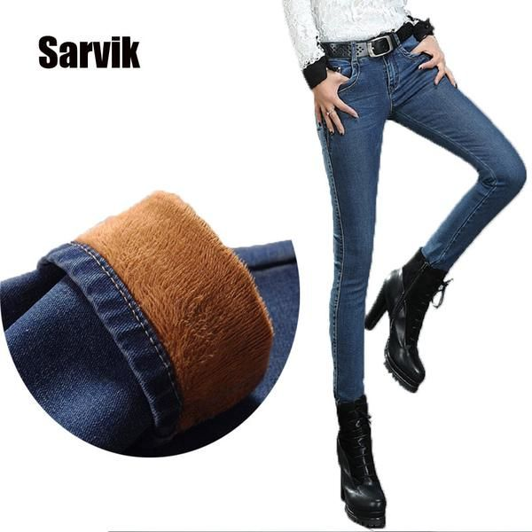 Warm thick velvet skinny jeans Pants for woman Blue denim trousers