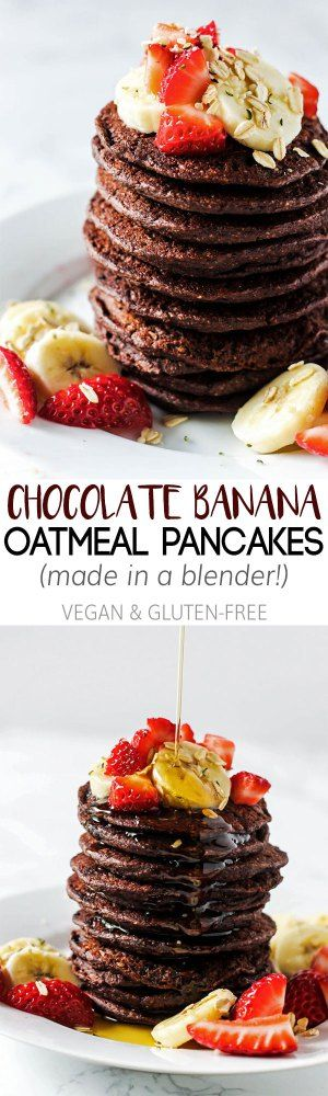 These easy Chocolate Banana Oatmeal Pancakes are made in the blender from wholesome ingredients! A healthy way to curb your morning sweet tooth. Vegan & GF!
