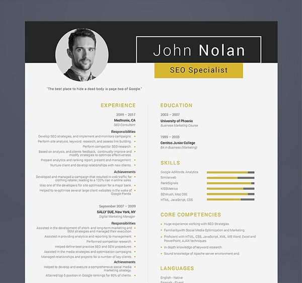Printable Resume For Seo Specialist Modern Resume Template Resume Design Template Downloadable Resume Template