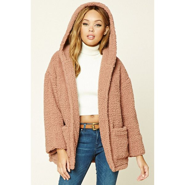 Forever21 Faux Fur Hooded Jacket ($35) ❤ liked on Polyvore featuring outerwear, jackets, mauve and forever 21