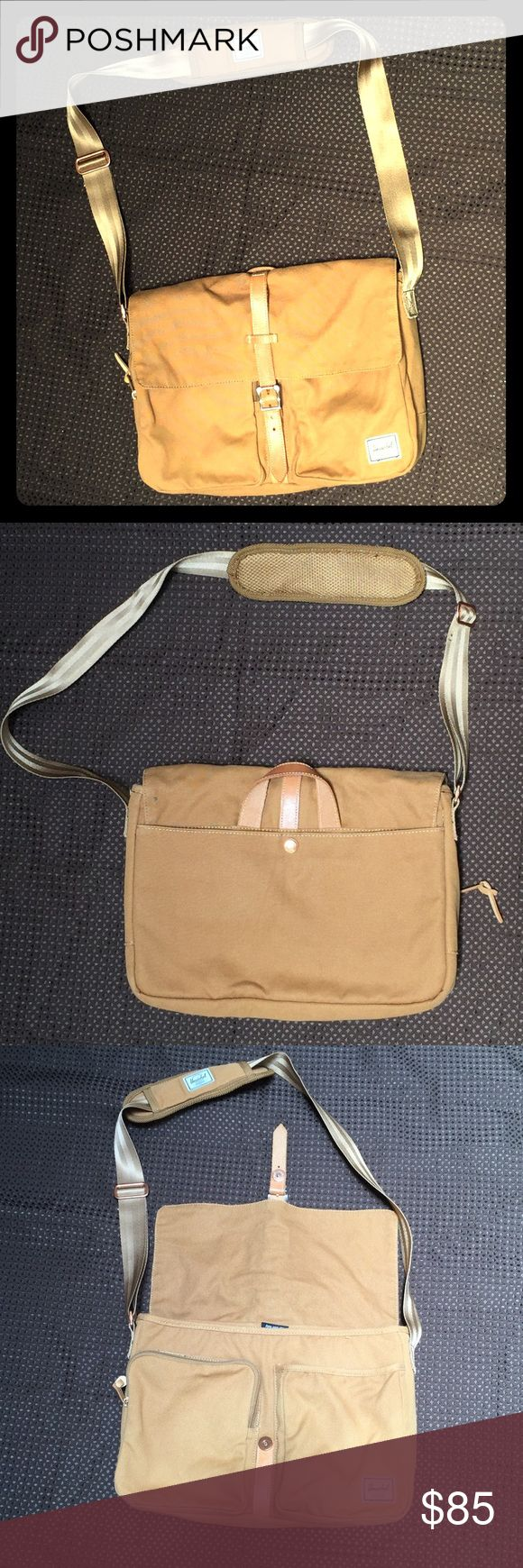 """Herschel Supply Co. Columbia Messenger in Caramel Practically brand new!! Full grain leather with metal pin clip with magnetic snap front closure. Adjustable padded cross body strap. Exterior zip, slip and snap pockets.  . Interior fleece lined laptop sleeve (fits most 15"""" laptops); zip and cell phone pockets; four pen loops; key clip. 100% polyester. Herschel Supply Company Bags Laptop Bags"""