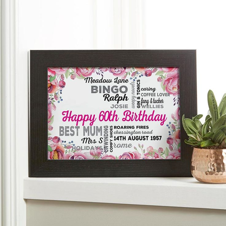 Create your personalised print or canvas with a floral background as a 60th Birthday gift. See your design preview on screen before you buy