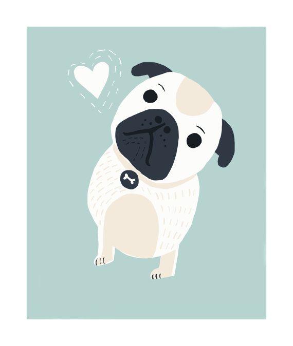 Cute Little Pug. Illustration Nursery Art Children Decor by MrPaws