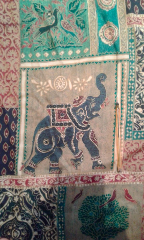 Curtains Raj Elephant Indian Green Pencil Pleat 53  drop with Pelmet, Tie-back