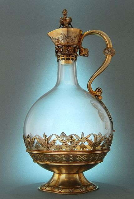 Crystal glass and gilt claret jug/decanter by Hunt & Roskell, London, England 1887