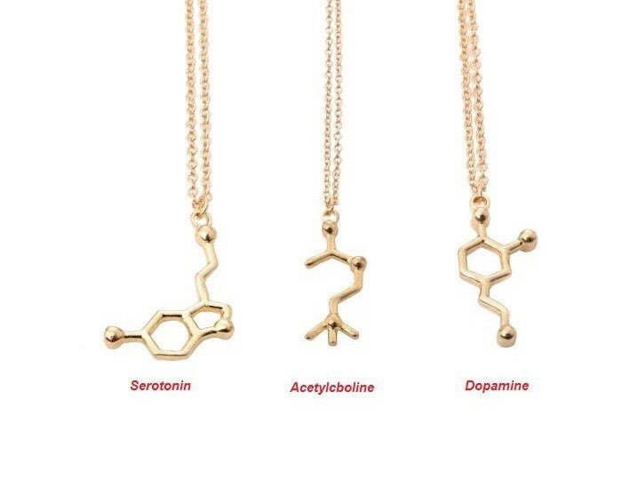 Molecular Necklace, Dainty Jewelry, Minimalist Necklace, Dopamine, Serotonin, Acetylcboline, Dainty Necklace, Gift Ideas, Simple Necklace, by MissFitBoutiqueCA on Etsy https://www.etsy.com/ca/listing/562777144/molecular-necklace-dainty-jewelry