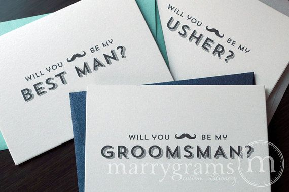 Will You Be My Groomsman Cards, Best Man, Ring Bearer, Usher w Mustache -Ask Groomsmen to Your Wedding -Navy, Silver, Green Cards (Set of 8)