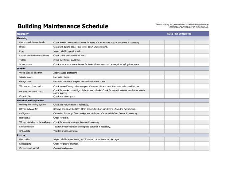 Building Maintenance Plan Excel Template In 2020 Reinigungsplan Vorlagen Excel Vorlage Checklisten Vorlage