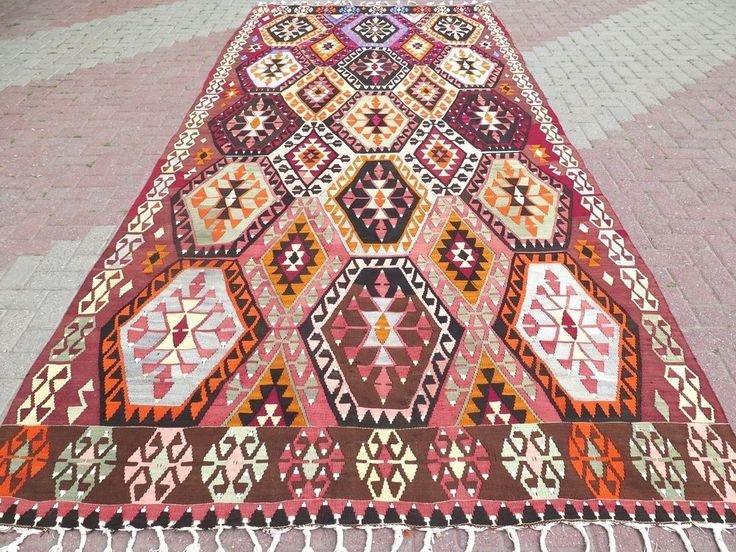 "Antique Turkish Rugs For Sale,Antalya Kilim 76,3""x174,8"" Area Rugs Sale,Carpet #Turkish"