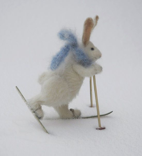 skier rabbit by Natasha Fadeeva - very good gestural quality - can't you just feel it moving forward!