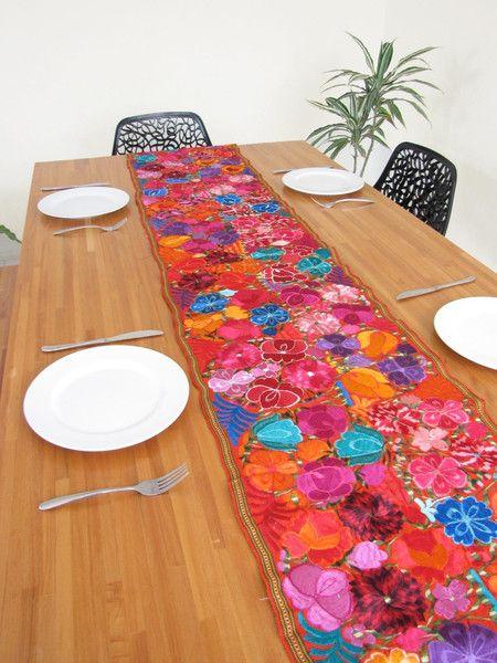 Embroidered Table Runner Orange | ChiapasBazaar.com ...