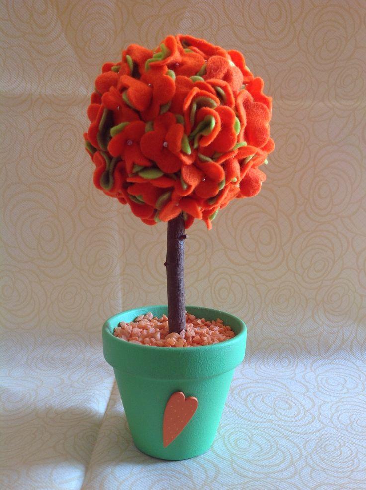 Piantine fiorita in feltro con vaso di ceramica decorato : Accessori casa di farfilocreando
