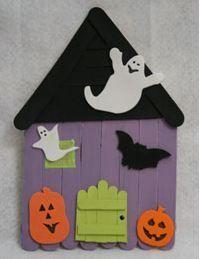Popsicle Stick Haunted House http://planetforward.ca/blog/halloween-craft-popsicle-stick-haunted-house/ | Дома С Привидениями | Pinterest | Popsicles, House an…