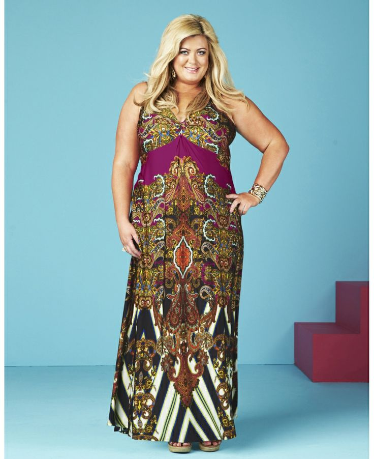 Gemma Collins is famous for wearing beautiful printed maxi?s so why not follow in her fashion footsteps with this fabulous printed dress. Has flattering sweet heart neckline and twisted knot to the front.  Team with wedges and an oversized bag for the perfect summer evening look.  Gemma Collins range exclusively at Simply Be. Machine washable.
