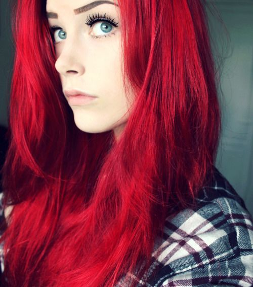 Bright red hair - hair like this can be achieved by lightening to a dark golden color and then applying a light red permanent dye, or a semi for less damage...