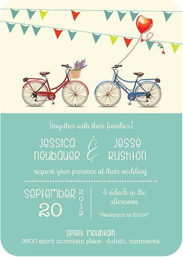 Bicycle Paper Designs | Bicycle Wedding Invitations | Bicycle Invites