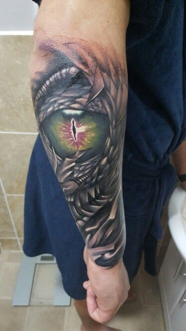 New dragons eye half sleeve tattoo