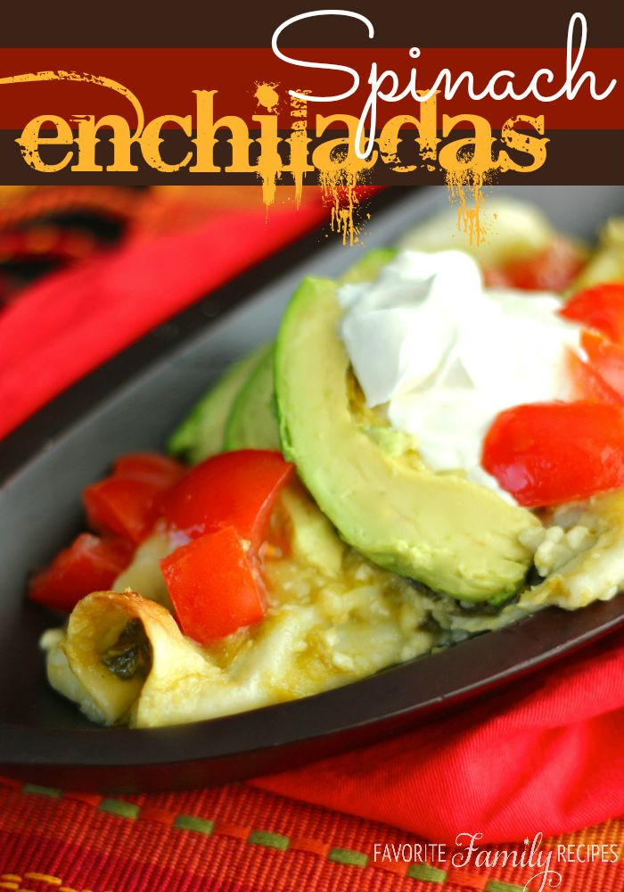 Spinach Enchiladas - Favorite Family Recipes I'd add shredded chicken