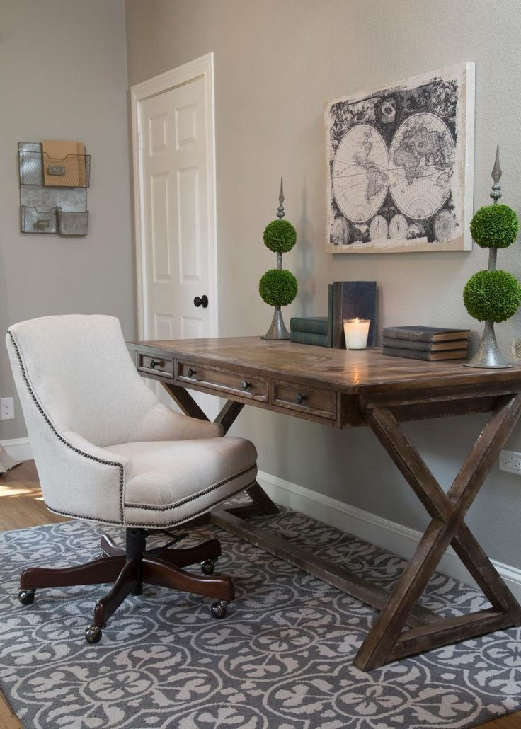 the new home office is staged with a traditional wood desk and white rh pinterest com