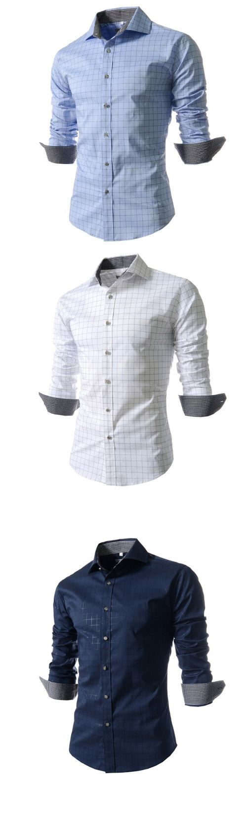 Men's Work/Formal Check Print Long Sleeve Shirt