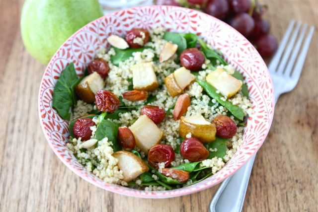 Spinach and Quinoa Salad with Roasted Grapes, Pears, and Almonds. When ...