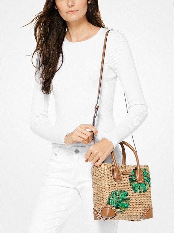 653f2206d464 Malibu Palm Embroidered Woven Straw Crossbody | กระเป๋าปอ | Michael ...