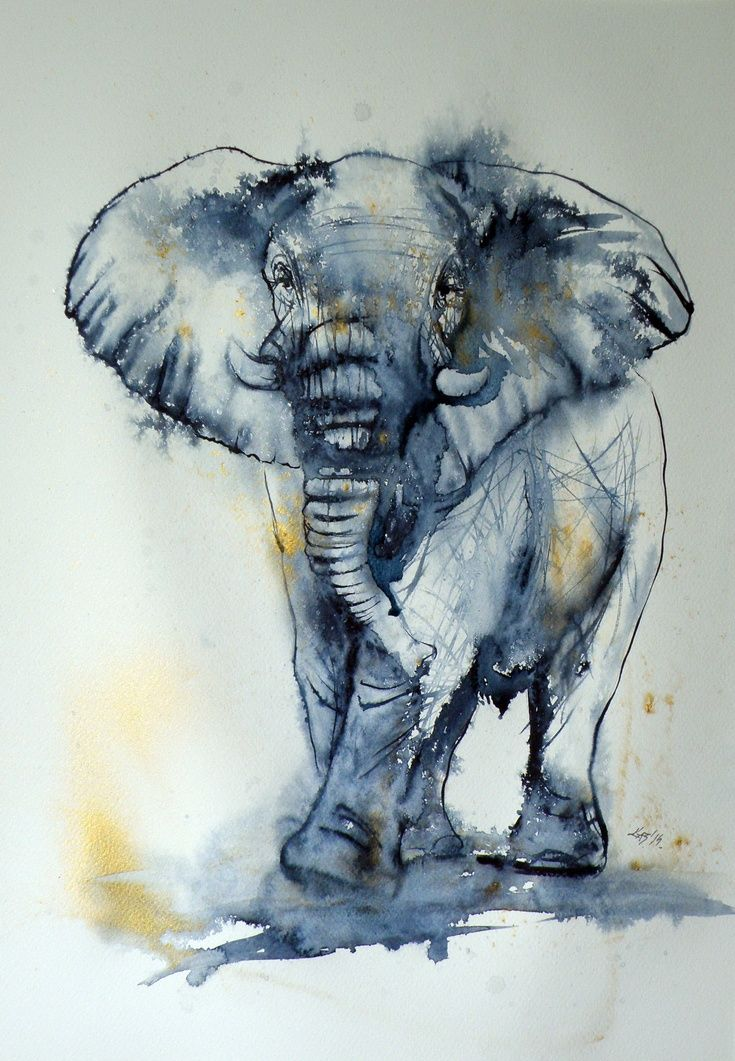 ARTFINDER: Elephant in gold by Kovács Anna Brigitta - Original watercolour painting on high quality watercolour paper. I love landscapes, still life, nature and wildlife, lights and shadows, colorful sight. Thes...
