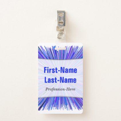Blues & Purples Line Burst Pattern; Custom Name Badge - pattern sample design template diy cyo customize