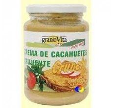 CREMA-DE-CACAHUETE-CRUJIENTE De el granero integral. Producto de agradable sabor y alto valor nutritivo (sobre todo en ácidos grasos y proteínas), sin aflavotoxinas.   INGREDIENTES Cacahuetes tostados (93%), melaza deshidratada, grasa vegetal no hidrogenada, sal marina, emulgente mono y diglicéridos de ácidos grasos. INFORMACIÓN NUTRICIONAL  Peso: 330 Gluten*: No Leche*: No Colesterol: No Huevo: No Gluten: No Azúcar: No Kcalorías: 596