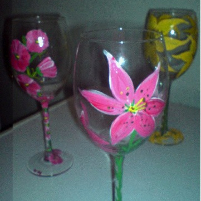 Glass Paint Pictures Of Flowers