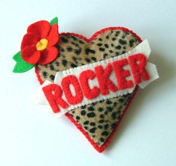 Personalized Tattoo Love Heart Leopard Brooch by TheDollCityRocker, $15.00