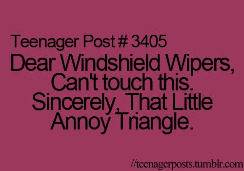 I definitely have that annoying triangle on my windshield