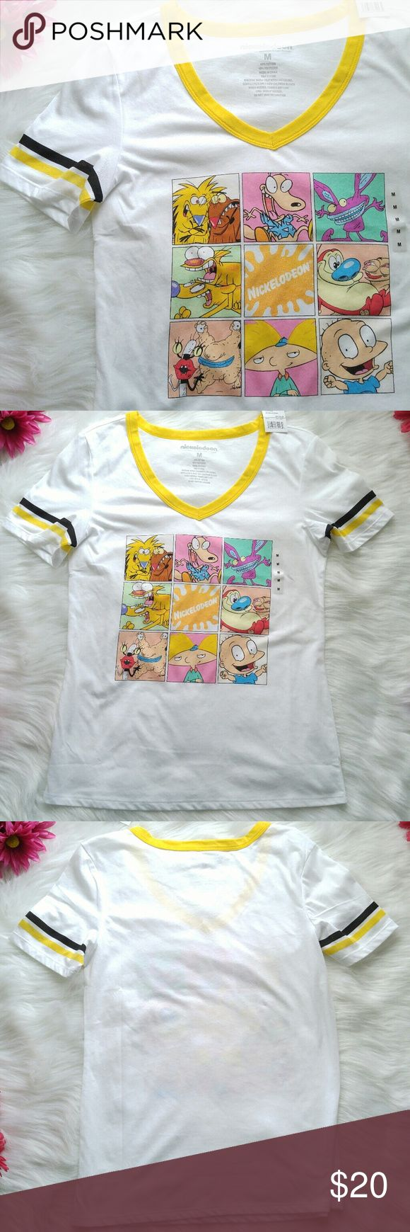 NWT 90s Nickelodeon cartoons tee shirt M Rugrats Rad T shirt with 90s Nicktoons screenprint! Size medium. Brand new with tags! Lightweight, sheer white cotton/poly blend with yellow piping at sleeves and neckline. Smoke free home:) Aah real monsters- Ren and Stimpy - Rugrats - Angry Beavers - Rocko's Modern Life - Hey Arnold - CatDog!  8588nick7d5e Nickelodeon Tops Tees - Short Sleeve