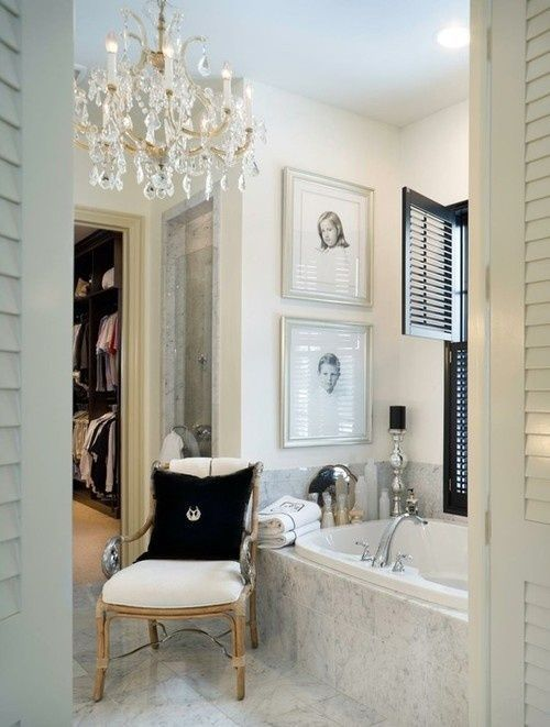 Picture Gallery For Website Love the idea of a chandelier in the bathroom