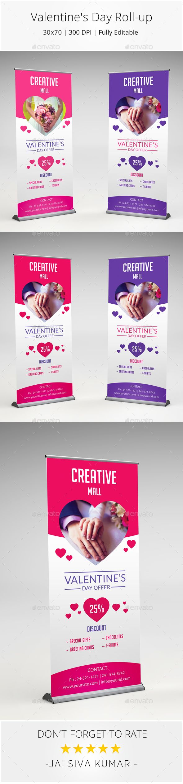 Valentines Day Roll-Up Banner Template PSD #design Download: http://graphicriver.net/item/valentines-day-banner/14397453?ref=ksioks