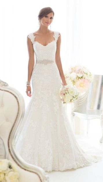 Beautiful all-over Lace fit and flare wedding dress